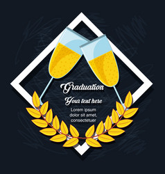 Graduation card with wine cups vector