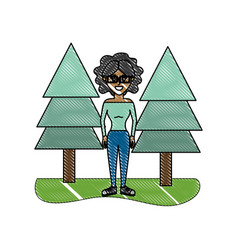 Grated happy woman with curly hair and pine trees vector
