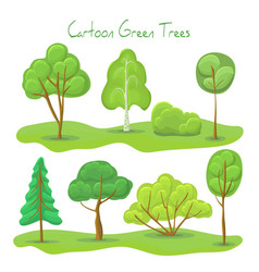 green trees and bush set a vector image