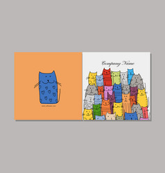 greeting card design funny cats family vector image