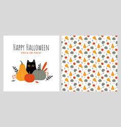 halloween with cat and pumpkins vector image