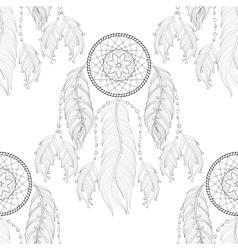Hand drawn entangle dream catcher seamless vector