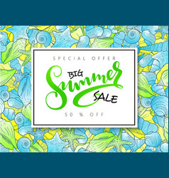 hand lettering summer sale banner on doddle vector image