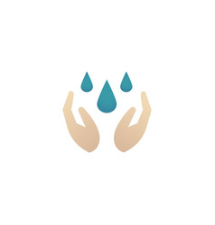 Hands with drops cleansing and washing hands vector