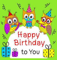Happy birthday card with funny owls vector