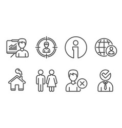 Headhunting presentation and restroom icons vector