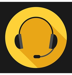 Headset on yellow vector image