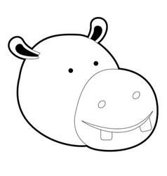 Hippopotamus cartoon head in black silhouette with vector