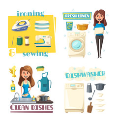Home cleaning and washing woman ironing vector