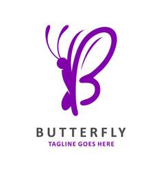 Initial logo b butterfly vector