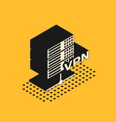 Isometric server vpn icon isolated on yellow vector