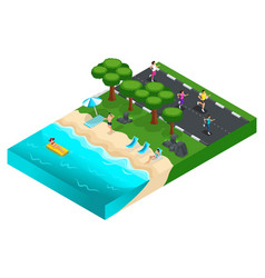 isometrics rest on the nature grass landscape vector image