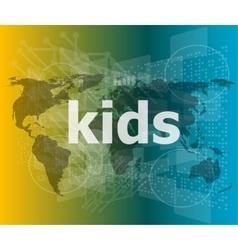 Kid word on a virtual digital background raster vector