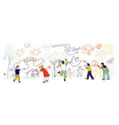 Kids characters different nationalities vector