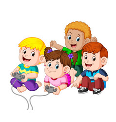 kids playing video games together vector image