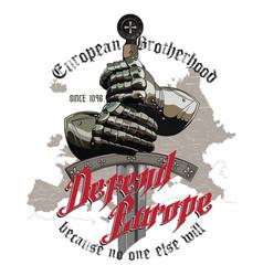 Knight design armour gloves knight sword vector