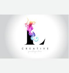 L vibrant creative leter logo design vector