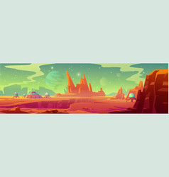 Landscape mars surface with colony base vector