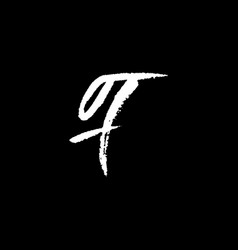 letter f handwritten by dry brush rough strokes vector image