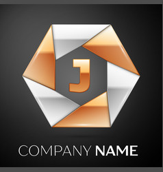 Letter j logo symbol in the colorful hexagon on vector