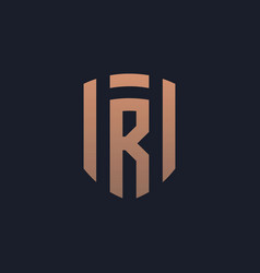 Letter r shield logo icon vector