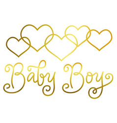lettering of baby boy in golden on white vector image