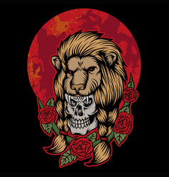 lion skull head red moon vector image