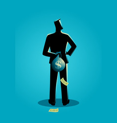 Man hiding a money bag behind his back vector
