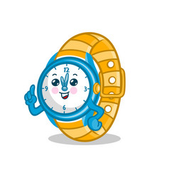 mascot cartoon wrist watch logo vector image