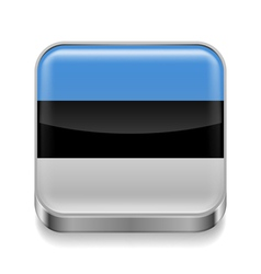 Metal icon of Estonia vector