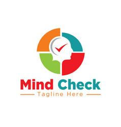 Mind check logo designs health medicine vector