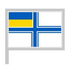 Naval ensign ukraine flag on flagpole icon vector