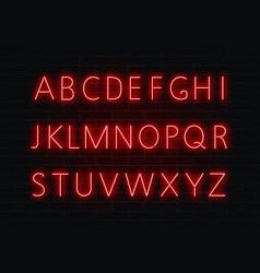 neon font light alphabet text sign set gl vector image