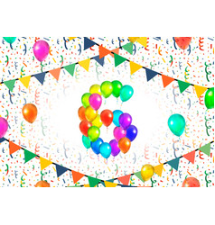 number six made up from colorful balloons on white vector image