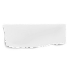 Oblong paper tear with soft shadow isolated on vector