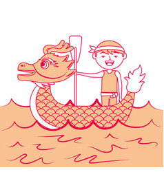 Orange dragon man rowing festival chines vector