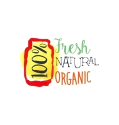 Organic 100 Percent Fresh Juice Promo Sign vector image