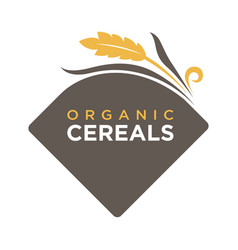 Organic cereals logo ears of wheat symbol isolated vector