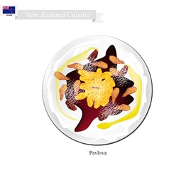 Pavlova meringue cake with raisins new zealand vector