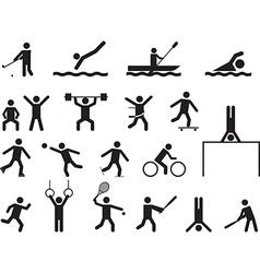 Pictograph people doing sport activities vector