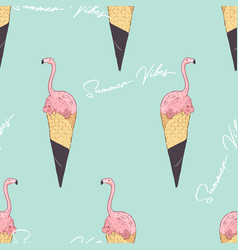 pink flamingo ice cream cone summer vibes vector image