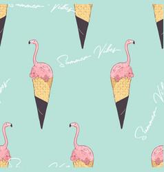 pink flamingo ice cream cone summer vibes vector image