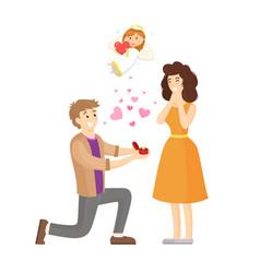 Proposal man romantic moment angel child vector