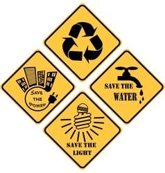 Recycling and ecological set yellow signs vector