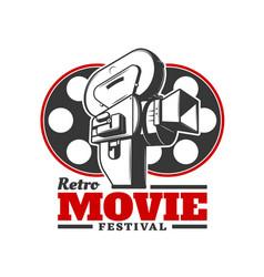 retro movies festival cinema event icon vector image