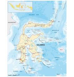 Road map greater sunda island sulawesi vector