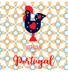 rooster barcelos portuguese symbol vector image
