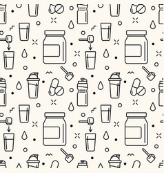 Seamless pattern with sport supplements vector
