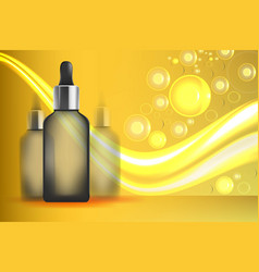 serum essence golden with dropper in bottle skin vector image