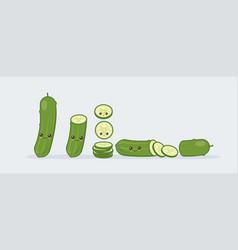 set cucumber cute kawaii smiling food vector image